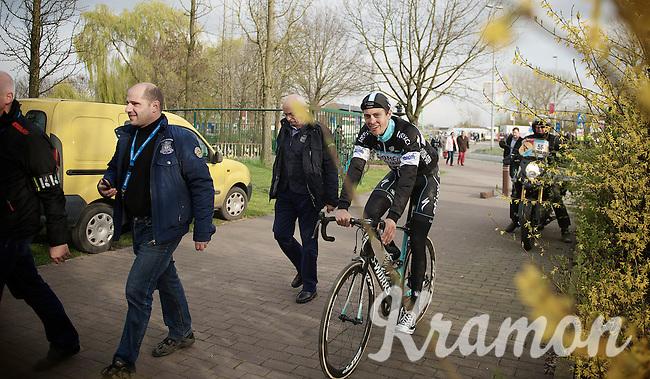 race winner Niki Terpstra (NLD/OPQS) escorted to the press room after th epodium ceremoni<br /> <br /> Dwars Door Vlaanderen 2014