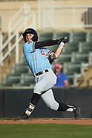 Jonathan Ornelas (3) of the Hickory Crawdads follows through on his swing against the Kannapolis Intimidators at Kannapolis Intimidators Stadium on May 6, 2019 in Kannapolis, North Carolina. The Crawdads defeated the Intimidators 2-1 in game one of a double-header. (Brian Westerholt/Four Seam Images)