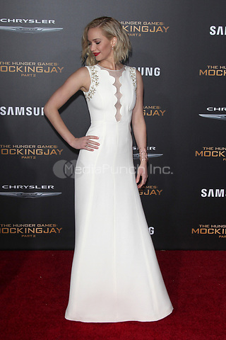 """LOS ANGELES, CA - NOVEMBER 16: Jennifer Lawrence at the Premiere Of """"The Hunger Games: Mockingjay - Part 2"""" At Microsoft Theater On November 16, 2015. Credit: mpi21/MediaPunch"""