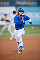 South Bend Cubs first baseman Jhonny Pereda (13) runs the bases during a game against the Clinton LumberKings on May 5, 2017 at Four Winds Field in South Bend, Indiana.  South Bend defeated Clinton 7-6 in nineteen innings.  (Mike Janes/Four Seam Images)