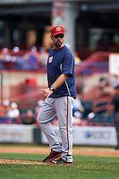 Harrisburg Senators pitching coach Chris Michalak (31) walks to the mound for a visit during a game against the Erie Seawolves on August 30, 2015 at Jerry Uht Park in Erie, Pennsylvania.  Harrisburg defeated Erie 4-3.  (Mike Janes/Four Seam Images)