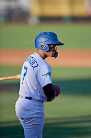 Ramon Rodriguez (7) of the Ogden Raptors at bat against the Missoula Osprey at Lindquist Field on August 12, 2019 in Ogden, Utah. The Raptors defeated the Osprey 4-3. (Stephen Smith/Four Seam Images)