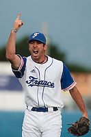25 july 2010: Pierrick Le Mestre of France celebrates the victory during France 6-1 victory over Czech Republic, in day 3 of the 2010 European Championship Seniors, in Neuenburg, Germany.