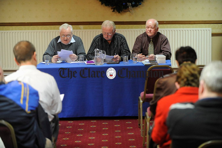 Michael Fitzpatrick, secretary, Johnny Hayes, chairman and Christy O Connor treasurer at the Clare Ladies Football AGM in the West County hotel. Photograph by John Kelly.