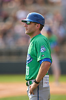 Hartford Yard Goats manager Chris Denorfia (13) during a game against the Somerset Patriots on September 12, 2021 at TD Bank Ballpark in Bridgewater, New Jersey.  (Mike Janes/Four Seam Images)