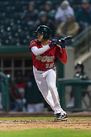 Fort Wayne TinCaps third baseman Tucupita Marcano (15) bunts during a Midwest League game against the Fort Wayne TinCaps at Parkview Field on April 30, 2019 in Fort Wayne, Indiana. Kane County defeated Fort Wayne 7-4. (Zachary Lucy/Four Seam Images)