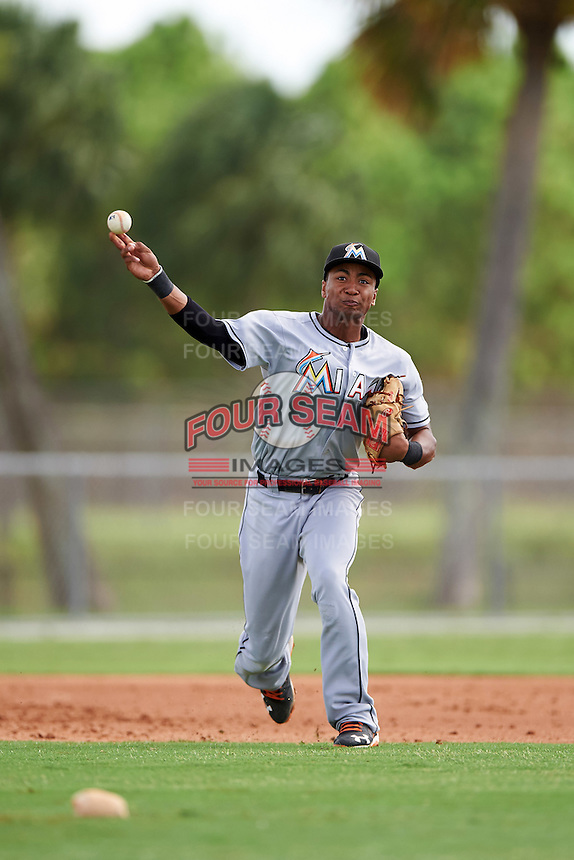 GCL Marlins third baseman James Nelson (5) throws to first during the first game of a doubleheader against the GCL Cardinals on August 13, 2016 at Roger Dean Complex in Jupiter, Florida.  GCL Cardinals defeated GCL Marlins 4-2 in a continuation of a game originally started on August 8th.  (Mike Janes/Four Seam Images)