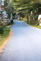 A winding mountain road at Les Baux de Provence, Bouche du Rhone, France