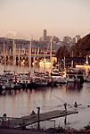 Seattle, Rowers launch on Seattle's Lake Union, Lake Washington Rowing Club, Mount Rainier, Pacific Northwest, Washington State, United States,.