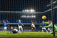 14th February 2021, Doddison Park, Liverpool, England;  Fulhams Josh Maja  scores his first goal past Evertons goalkeeper Robin Olsen during the Premier League match between Everton and Fulham at Goodison Park in Liverpool