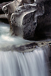 Waterfall along Skykomish River with rock formations