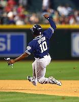May 8, 2015; Phoenix, AZ, USA; San Diego Padres outfielder Justin Upton slides into second base against the Arizona Diamondbacks at Chase Field. The Padres defeated the Diamondbacks 6-5. Mandatory Credit: Mark J. Rebilas-USA TODAY Sports