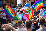 "© Joel Goodman - 07973 332324 . 23/08/2014 .  Manchester , UK . The parade through Manchester City Centre . Manchester Pride "" Big Weekend "" in Manchester "" today ( 23rd August 2014 ) . Photo credit : Joel Goodman"