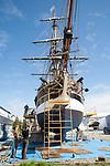 Lady Washington, sail training ship, Grays harbor Historical Seaport Authority, on the hard, Boat Haven Marina, Port Townsend, Puget Sound, Washington State, Pacific Northwest, USA, historic ships, sailing ship,  June 15 2020,