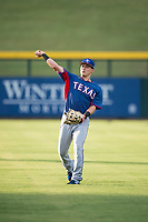 AZL Rangers outfielder Jose Cardona (11) warms up before an Arizona League game against the AZL Cubs 2 at Sloan Park on July 7, 2018 in Mesa, Arizona. AZL Rangers defeated AZL Cubs 2 11-2. (Zachary Lucy/Four Seam Images)