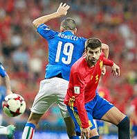 Spain's Gerad Pique (r) and Italy's Leonardo Bonucci during FIFA World Cup 2018 Qualifying Round match. September 2,2017.(ALTERPHOTOS/Acero)
