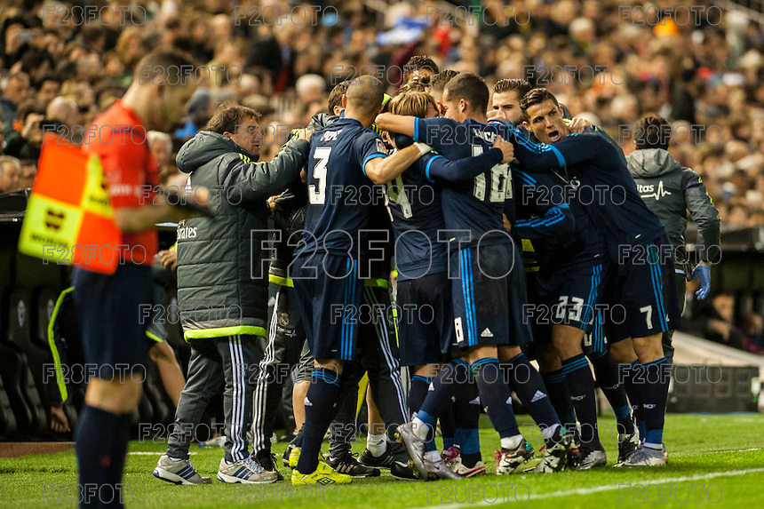 VALENCIA, SPAIN - JANUARY 3: Madrid team celebrating a goal during BBVA LEAGUE match between Valencia C.F. and Real Madrid at Mestalla Stadium on January 3, 2015 in Valencia, Spain