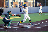 Michigan Wolverines designated hitter Jimmy Obertop (8) hits a walk-off home run against the Michigan State Spartans during Big Ten NCAA baseball action at Ray Fisher Stadium on March 21st, 2021 in Ann Arbor, Michigan. Michigan scored 8 runs in the bottom of the ninth inning to win 8-7. (Andrew Woolley/Four Seam Images)