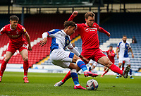 Blackburn Rovers' Tyrhys Dolan tries to cross under pressure from Nottingham Forest's Luke Freeman<br /> <br /> Photographer Alex Dodd/CameraSport<br /> <br /> The EFL Sky Bet Championship - Blackburn Rovers v Nottingham Forest - Saturday 17th October 2020 - Ewood Park - Blackburn<br /> <br /> World Copyright © 2020 CameraSport. All rights reserved. 43 Linden Ave. Countesthorpe. Leicester. England. LE8 5PG - Tel: +44 (0) 116 277 4147 - admin@camerasport.com - www.camerasport.com