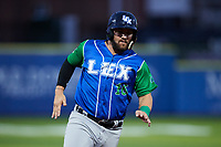 D.J. Peterson (16) of the Lexington Legends hustles towards third base against the High Point Rockers at Truist Point on June 16, 2021, in High Point, North Carolina. The Legends defeated the Rockers 2-1. (Brian Westerholt/Four Seam Images)