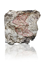Geometric wall painting fragment found in 1999 in building 2, space 117, level IX. Unit no 4223X1. Catalhoyuk collection, Konya Archaeological Museum, Turkey. Against a white background