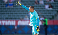 CARSON, CA - FEBRUARY 1: steban Alvarado #1 of Costa Rica yelling out directions during a game between Costa Rica and USMNT at Dignity Health Sports Park on February 1, 2020 in Carson, California.