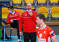 English head coach Joel Banks of Maaseik  pictured during a Volleyball game between Knack Volley Roeselare and Greenyard Maaseik , the third game in a best of five in the play offs in the 2020-2021 season , saturday 10 th April 2020 at the Schiervelde international Sportshall in Roeselare  , Belgium  .  PHOTO SPORTPIX.BE   DAVID CATRY