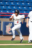 Brevard County Manatees center fielder Corey Ray (2) running the bases during a game against the Daytona Tortugas on August 14, 2016 at Space Coast Stadium in Viera, Florida.  Daytona defeated Brevard County 9-3.  (Mike Janes/Four Seam Images)