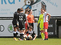 Megane Lerinckx (13) of Eendracht Aalsy pictured during an injury in a female soccer game between Eendracht Aalst and SV Zulte Waregem on the fourth matchday of play off 2 of the 2020 - 2021 season of Belgian Scooore Womens Super League , Saturday 1 st of May 2021  in Aalst , Belgium . PHOTO SPORTPIX.BE | SPP | DIRK VUYLSTEKE