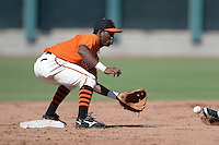 San Francisco Giants infielder Rando Moreno (16) takes a throw on a stolen base attempt during an instructional league game against the Arizona Diamondbacks on October 3, 2013 at Giants Baseball Complex in Scottsdale, Arizona.  (Mike Janes/Four Seam Images)