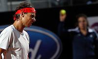 Lo spagnolo Rafael Nadal durante gli Internazionali d'Italia di tennis a Roma, 15 Maggio 2013..Spain's Rafael Nadal reacts during the Italian Open Tennis tournament ATP Master 1000 in Rome, 15 May 2013.UPDATE IMAGES PRESS/Riccardo De Luca..