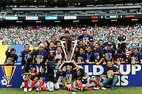 Mexico (MEX) celebrates winning the CONCACAF Gold Cup. Mexico (MEX) defeated the United States (USA) 5-0 during the finals of the CONCACAF Gold Cup at Giants Stadium in East Rutherford, NJ, on July 26, 2009.