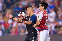 Action photo during the match United States vs Paraguay, Corresponding to  Group -A- of the America Cup Centenary 2016 at Lincoln Financial Field Stadium.<br /> <br /> Foto de accion durante el partido Estados Unidos vs Paraguay, Correspondiente al Grupo -A- de la Copa America Centenario 2016 en el Estadio Lincoln Financial Field , en la foto: (i-d) Bobby Wood de USA y Gustavo Gomez de Paraguay<br />  <br /> <br /> 11/06/2016/MEXSPORT/Osvaldo Aguilar.