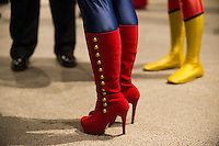 Colorful Captain Marvel boots belonging to fan Kit Jensen of Seattle are seen during the Carol Corps Celebration Thursday March 27, 2014 at the Museum of Flight in Seattle. Held the day before Emerald City Comicon kicked off, the event raised funds for Girls Leadership Institute and offered a chance for fans to meet and chat with Captain Marvel writer Kelly Sue DeConnick and Ms. Marvel writer G. Willow Wilson. Photo by Daniel Berman for WIRED.com