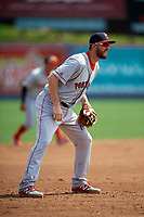 Portland Sea Dogs third baseman Jantzen Witte (22) during the first game of a doubleheader against the Reading Fightin Phils on May 15, 2018 at FirstEnergy Stadium in Reading, Pennsylvania.  Portland defeated Reading 8-4.  (Mike Janes/Four Seam Images)