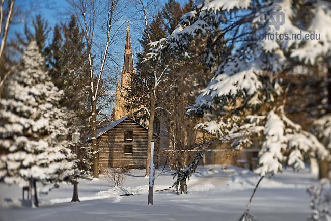 Jan. 22, 2013; Log Chapel and Basilica in winter..Photo by Matt Cashore/University of Notre Dame