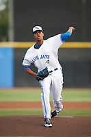 Dunedin Blue Jays starting pitcher Angel Perdomo (52) delivers a warmup pitch during a game against the St. Lucie Mets on April 19, 2017 at Florida Auto Exchange Stadium in Dunedin, Florida.  Dunedin defeated St. Lucie 9-1.  (Mike Janes/Four Seam Images)