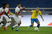 5th July 2021; Nilton Santos Stadium, Rio de Janeiro, Brazil; Copa America, Brazil versus Peru; Neymar of Brazil and Alexander Callens of Peru