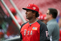 Team USA Josh Bell (47) during practice before the MLB All-Star Futures Game on July 12, 2015 at Great American Ball Park in Cincinnati, Ohio.  (Mike Janes/Four Seam Images)