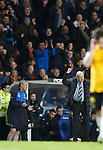 A punch of the air at full-time for Rangers manager Mark Warburton