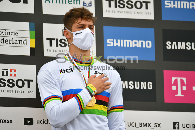 Picture by Will Palmer/SWpix.com - 22/08/2021 - Cycling - UCI BMX World Championships 2021 - Papendal National Sports Centre, Arnhem, Netherlands - Junior Men's Final Podium, Gold - Marco Radaelli of Italy.