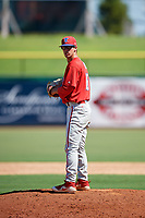 Philadelphia Phillies pitcher Austin Ross (16) gets ready to deliver a pitch during a Florida Instructional League game against the New York Yankees on October 12, 2018 at Spectrum Field in Clearwater, Florida.  (Mike Janes/Four Seam Images)