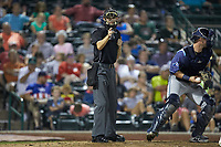 Home plate umpire Nathan Diederich makes a strike call during the Midwest League game between the West Michigan Whitecaps and the Fort Wayne TinCaps at Parkview Field on August 5, 2019 in Fort Wayne, Indiana. The TinCaps defeated the Whitecaps 9-3. (Brian Westerholt/Four Seam Images)