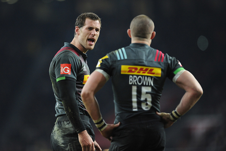 Tim Visser of Harlequins speak with Mike Brown of Harlequins during the Aviva Premiership Rugby match between Harlequins and Gloucester Rugby at Twickenham Stadium on Tuesday 27th December 2016 (Photo by Rob Munro/Stewart Communications)
