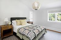 art deco bedroom with garden view