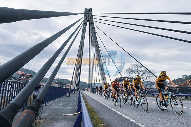 The peloton led by Team Jumbo-Visma during Stage 12 of the Vuelta Espana 2020 running 109.4km from Pola de Laviana to Alto de l'Angliru, Spain. 1st November 2020. <br /> Picture: Unipublic/Charly Lopez | Cyclefile<br /> <br /> All photos usage must carry mandatory copyright credit (© Cyclefile | Unipublic/Charly Lopez)