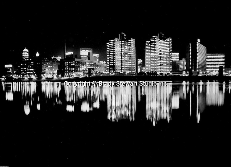 Pittsburgh PA:  View of the first Light Up Night in Pittsburgh.  Photograph was taken from the Northside of Pittsburgh near the banks of the Allegheny River