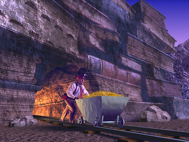 Miner pushing cart of gold from mountain of books
