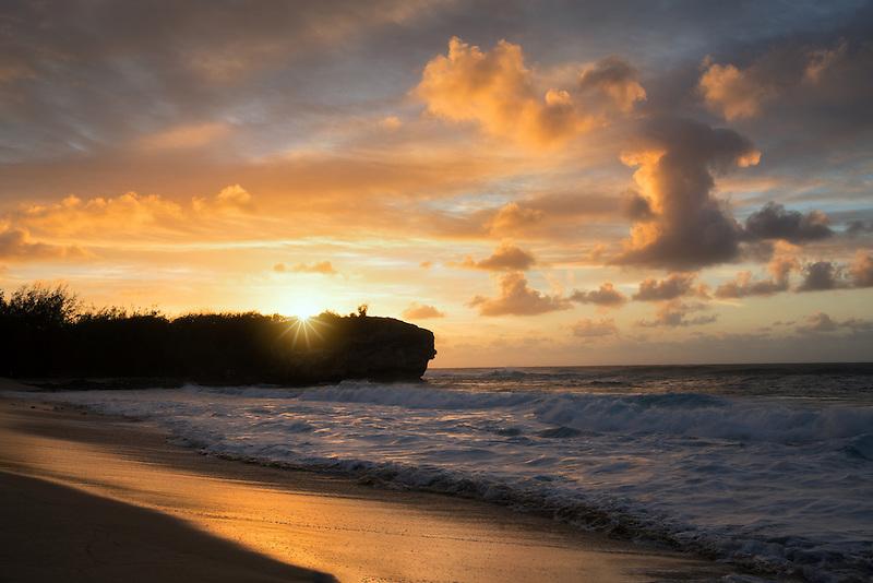Sunrise and Shipwreck Beach. Poipu, Kauai, Hawaii