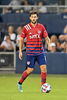 KANSAS CITY, KS - JULY 31: Ryan Hollingshead #12 FC Dallas with the ball during a game between FC Dallas and Sporting Kansas City at Children's Mercy Park on July 31, 2021 in Kansas City, Kansas.